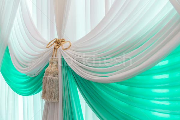 Luxury sweet white and blue curtain and tassel Stock photo © FrameAngel