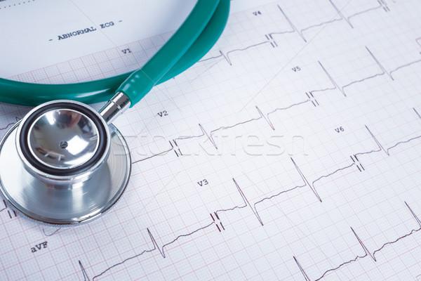Estetoscópio eletrocardiograma traçar médico médico Foto stock © FrameAngel