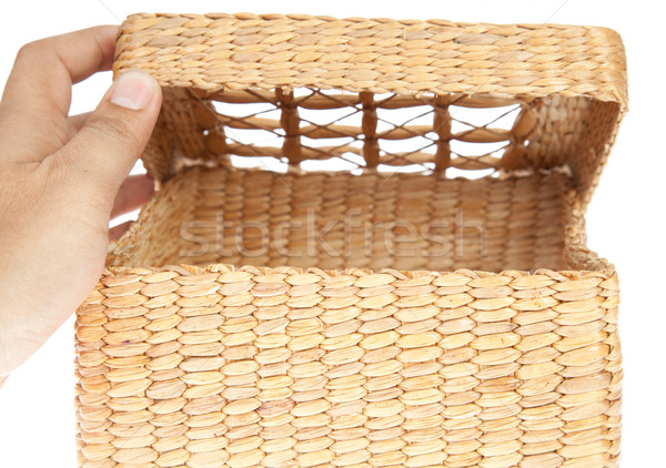 hand open wicker basket isolated on white background  Stock photo © FrameAngel