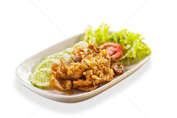 Thai étel disznóhús fokhagyma tányér étel zöld Stock fotó © FrameAngel