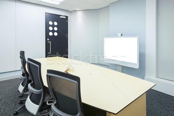 Video conferentie business zakelijke bijeenkomst kamer witte Stockfoto © FrameAngel