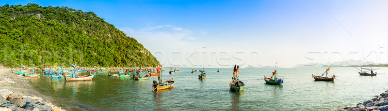 group of fishing boat anchored at Pranburi beach in Thailand Stock photo © FrameAngel