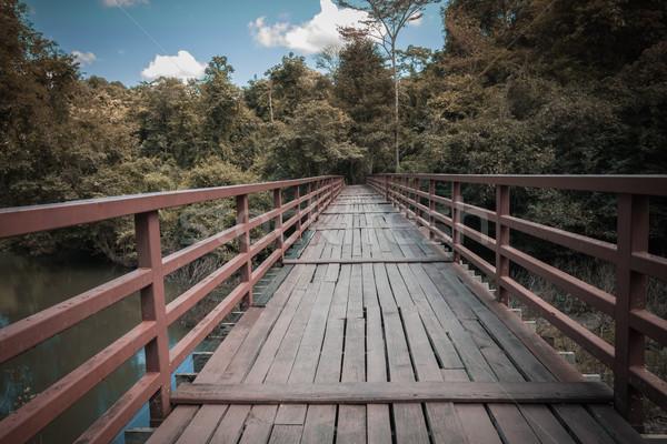 木製 橋 川 森林 空 ストックフォト © FrameAngel