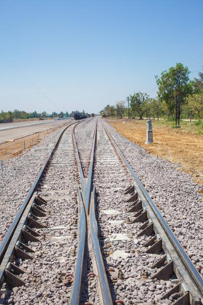 railway tracks and blue sky Stock photo © FrameAngel