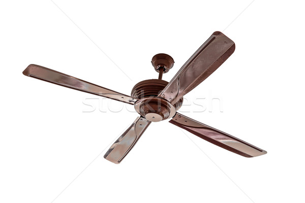 Four blades brown Ceiling fan isolated Stock photo © FrameAngel