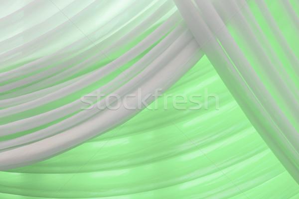 Luxo doce branco verde água cortina Foto stock © FrameAngel
