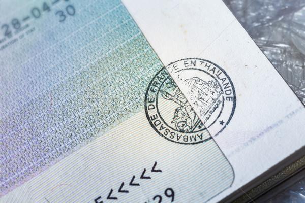 Passaporte carimbo visa viajar Paris França Foto stock © FrameAngel