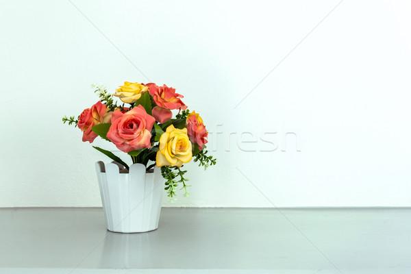 Flor branco tabela rosa abstrato natureza Foto stock © FrameAngel