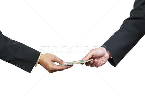 businessman hand and money to other for corruption concept on wh Stock photo © FrameAngel