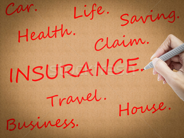 Stock photo: hand drawing Insurance word
