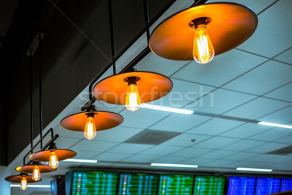 lamp ceiling or bulb lighting, retro lighting installed on ceili Stock photo © FrameAngel