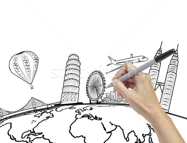 Mão desenho sonho viajar em torno de mundo Foto stock © FrameAngel