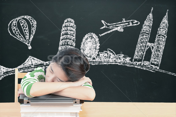 Asian woman dreaming and thinking travel holidays on blackboard Stock photo © FrameAngel