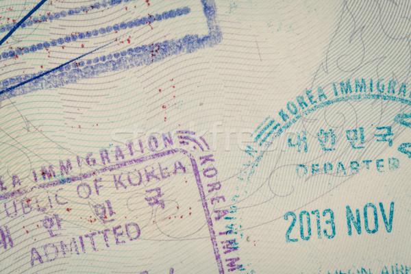 admitted stamp of Korea Visa for immigration travel concept Stock photo © FrameAngel