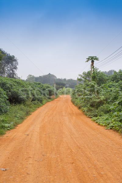 Kavicsút nyitva út sivatag mező kék Stock fotó © FrameAngel