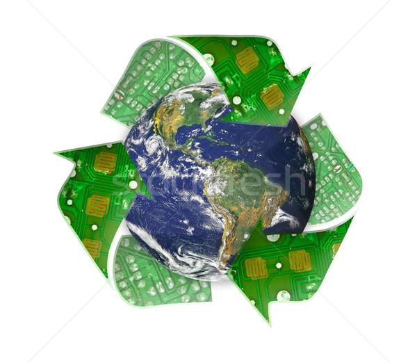 Stockfoto: Groene · aarde · recycleren · elektronische · afval · wereldbol