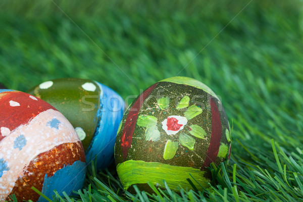Happy easter eggs festival event on grass,can use as background Stock photo © FrameAngel