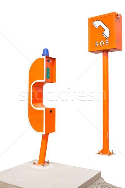 Sos assinar telefone caixa rodovia Foto stock © FrameAngel