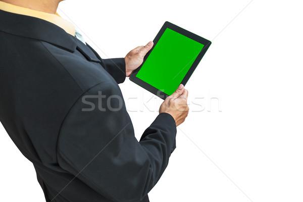 Zakenman digitale tablet groene scherm Stockfoto © FrameAngel
