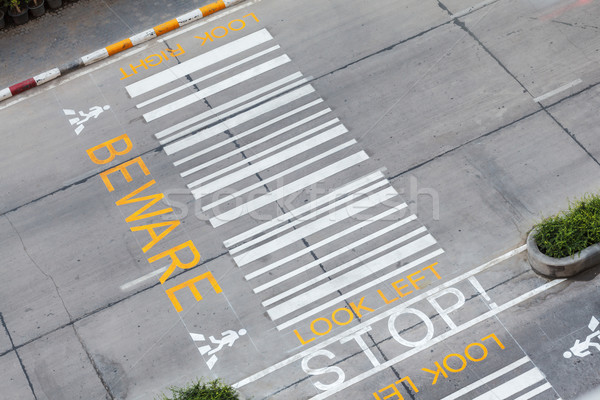 zebra crossing, on urban asphalt road for passenger or people an Stock photo © FrameAngel