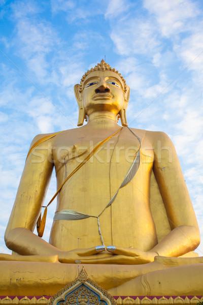 Buddha szobor kék ég istentisztelet fekete energia Stock fotó © FrameAngel