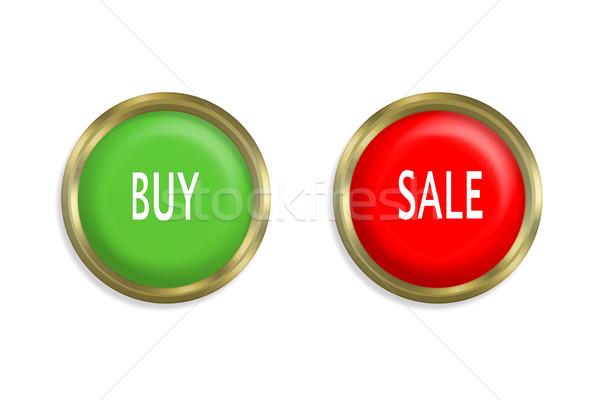 купить продажи кнопки белый красный власти Сток-фото © FrameAngel