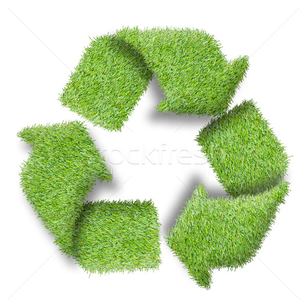 Recycle logo symbol from the green grass, isolated on white Stock photo © FrameAngel