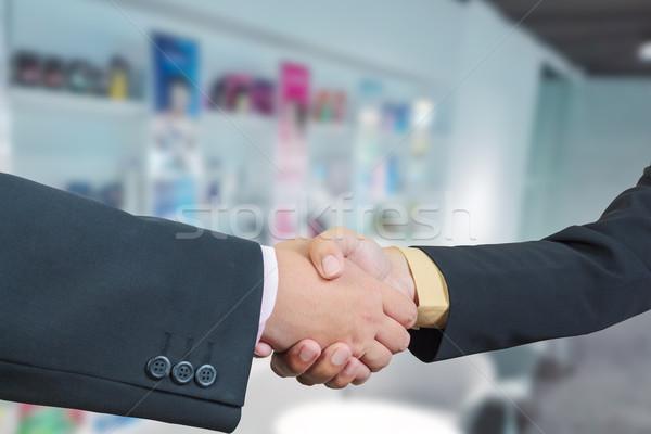 Business handdruk Blur markt kantoor Stockfoto © FrameAngel