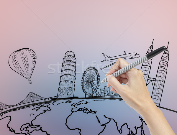 hand drawing the dream travel around the world Stock photo © FrameAngel