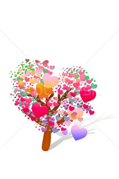 Walentynki drzewo serca ślub miłości trawy Zdjęcia stock © FrameAngel