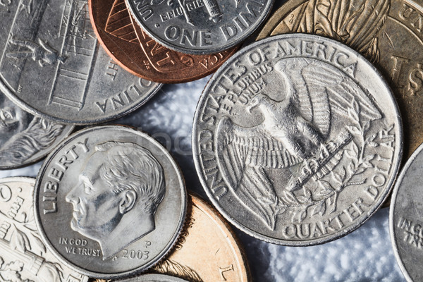Group of US American coin and quarter dollar Stock photo © FrameAngel