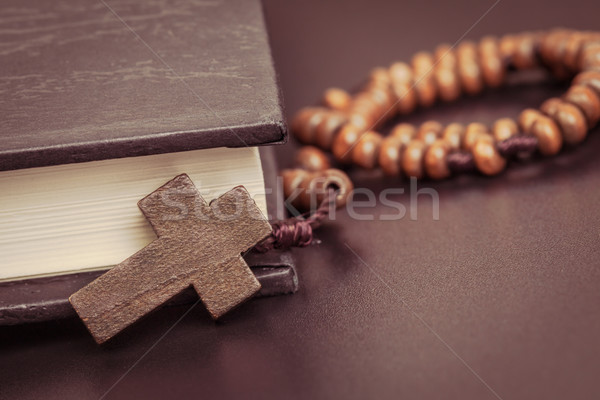 Christian cross necklace on Holy Bible book, Jesus religion conc Stock photo © FrameAngel