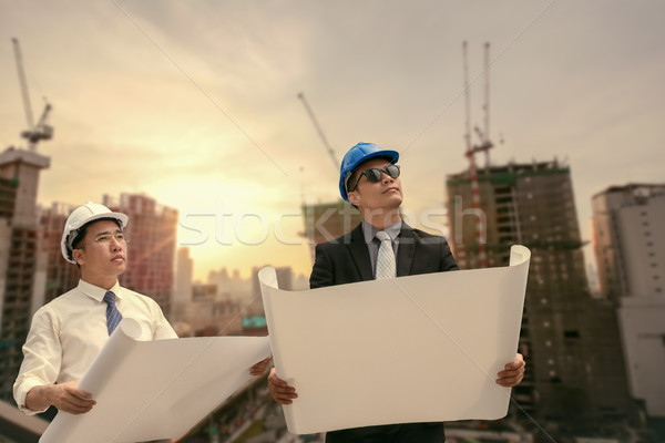 Asian businessman and engineer architect professional occupation Stock photo © FrameAngel