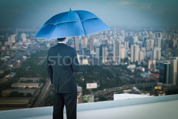 вид сзади бизнесмен зонтик глядя город Сток-фото © FrameAngel