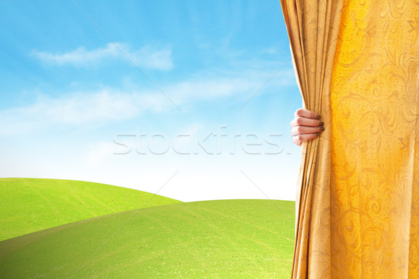 Opening the curtain  Stock photo © FrameAngel
