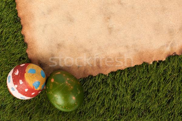 Feliz pascua huevos festival evento hierba grunge Foto stock © FrameAngel