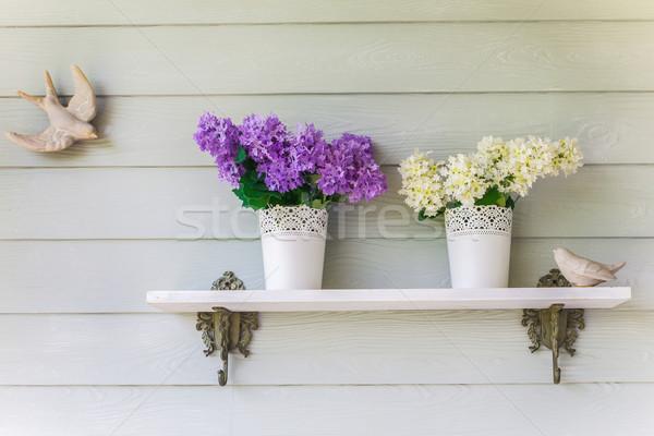 Stok fotoğraf: Renkli · çiçekler · bağbozumu · duvar · bahar · bahçe