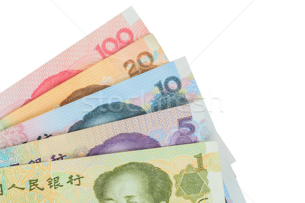 Stock photo: Chinese or Yuan banknotes money from China's currency, close up