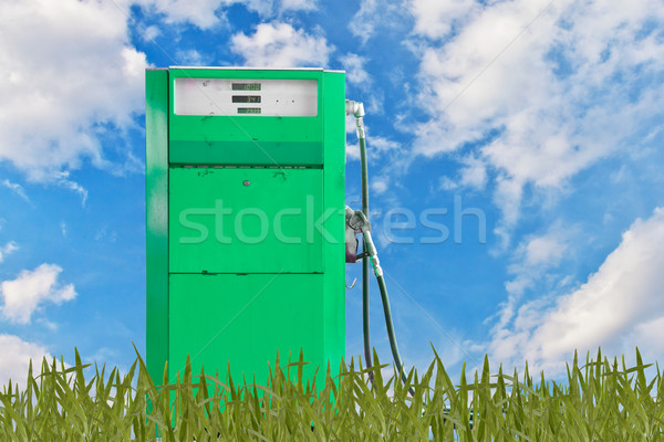 Zielone benzyny pompować moda niebieski oleju Zdjęcia stock © FrameAngel