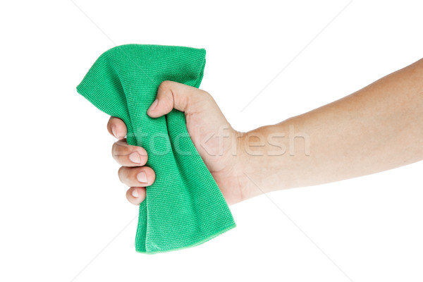 Hand  with sponge or Chamois cloth for cleaning Stock photo © FrameAngel