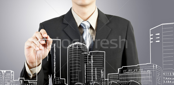 Business man draw building and cityscape  Stock photo © FrameAngel