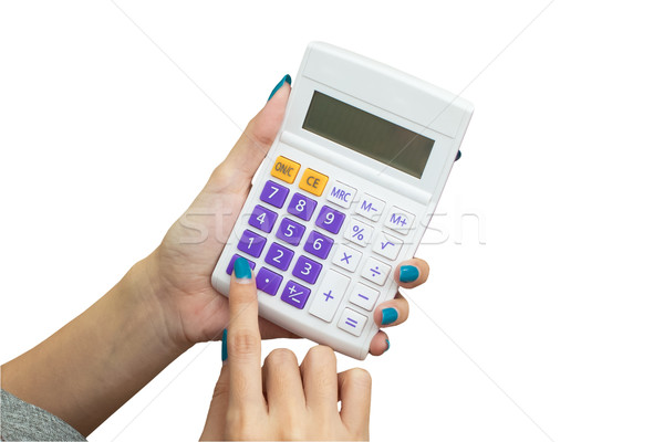 Vrouwelijke hand calculator formule business Stockfoto © FrameAngel
