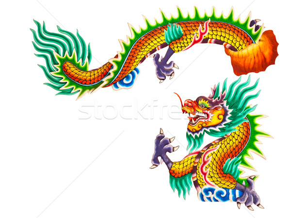 Chinese style dragon statue on white Stock photo © FrameAngel