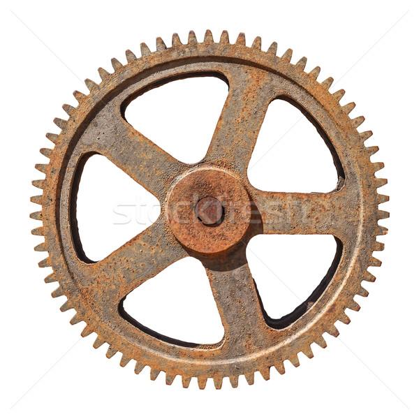 large gear wheel cogs rusty on white background Stock photo © FrameAngel