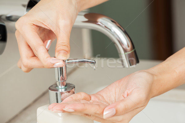 Washing hands with soap Stock photo © FrameAngel