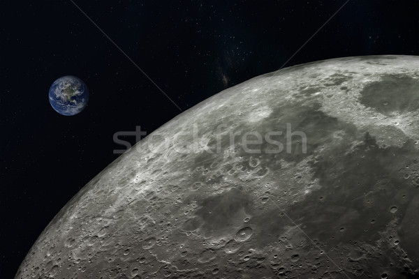 planet Earth and moon,Elements of this image furnished by NASA.  Stock photo © FrameAngel
