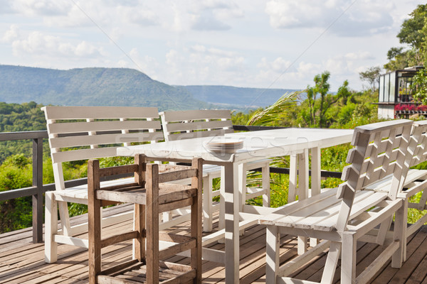 Dining table on terrace and, mountain view Stock photo © FrameAngel