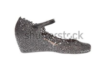 pair of black rubber platform shoes on white background Stock photo © FrameAngel