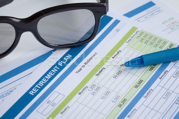 Planificación gafas pluma negocios dinero Foto stock © FrameAngel