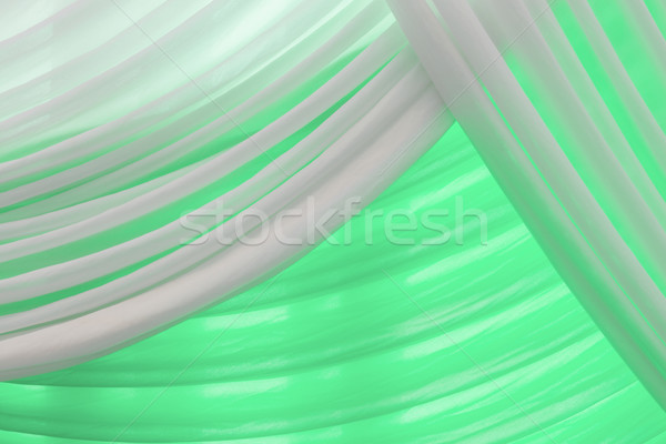 Luxury sweet white and green or aqua curtain Stock photo © FrameAngel